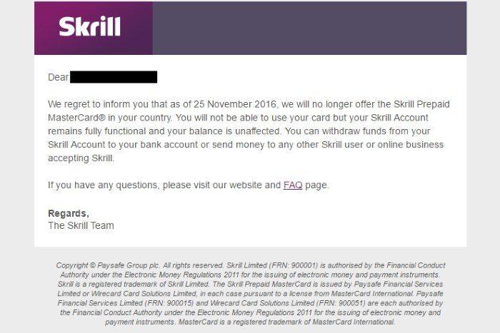 скрин уведомления от Skrill
